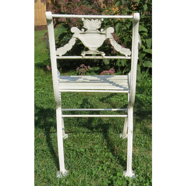 1900s Karl Friedrich Schinkel Style Neoclassical Cast Iron Patio Suite - 4 Pc. Set For Sale - Image 10 of 13