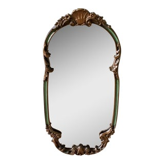 1920's French Shabby Chic Gold & Green Carved Mirror
