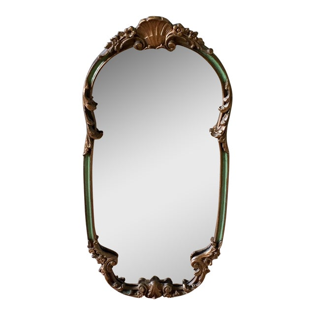 1920's French Shabby Chic Gold & Green Carved Mirror For Sale