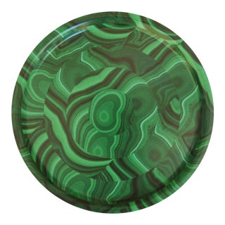 Malachite Birchwood Tray in Green For Sale