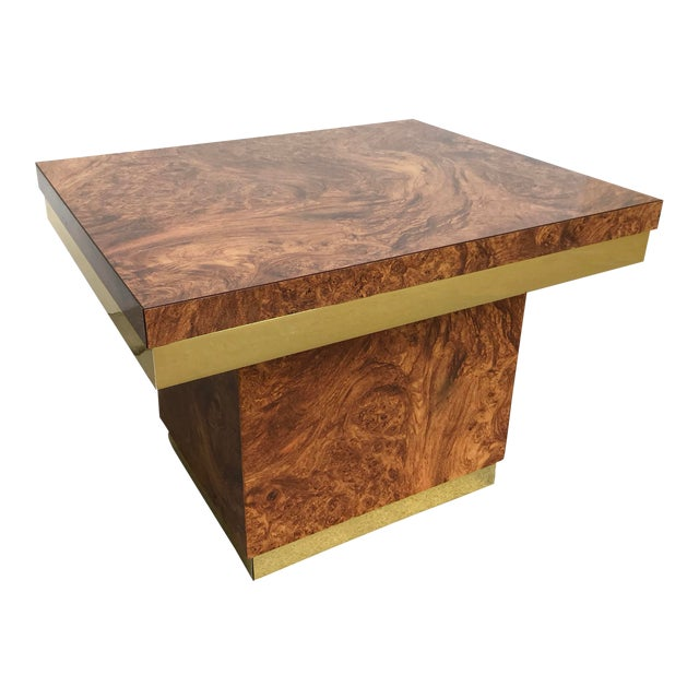 Faux Burl and Brass Accent Table For Sale