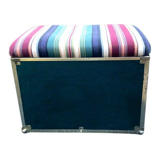 1960s Hollywood Regency Striped Tufted Storage Ottoman For Sale