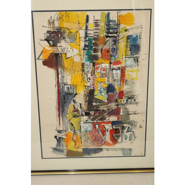 Up for sale is a Vintage abstract Watercolor Painting by Mid-Century Modern Artist Charles LeClair. It is signed and dated...