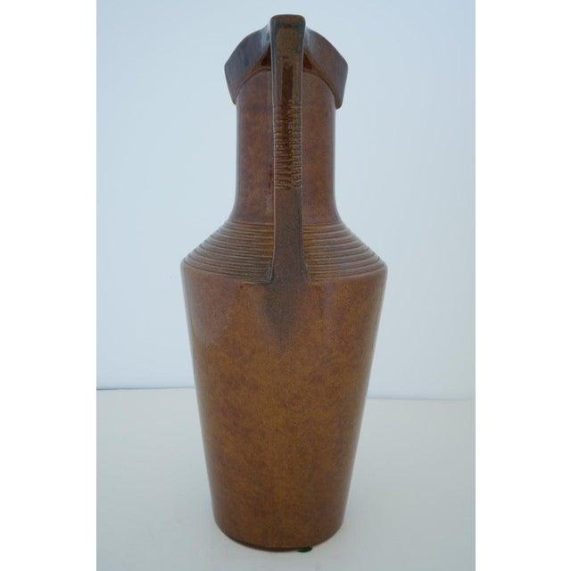 Art Deco Vintage Art Deco 1920s Egyptian Revival Handled Jug Urn Vase Glazed Ceramic For Sale - Image 3 of 9