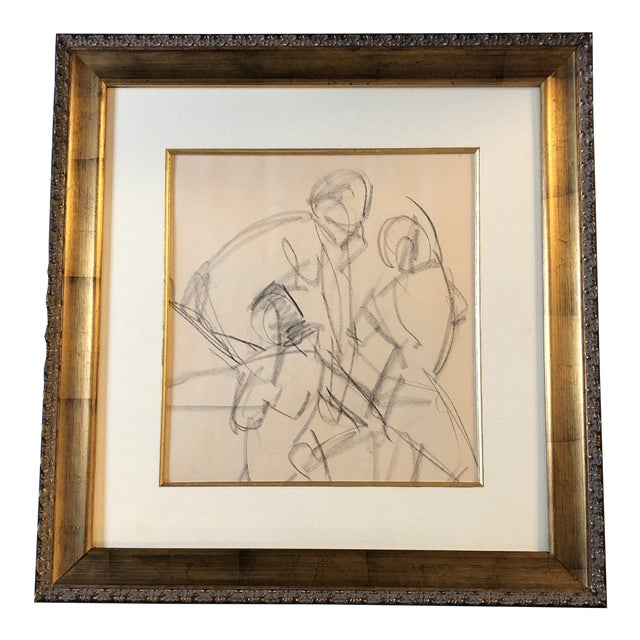 Original Vintage Charcoal Nude Figure Study Sketch For Sale