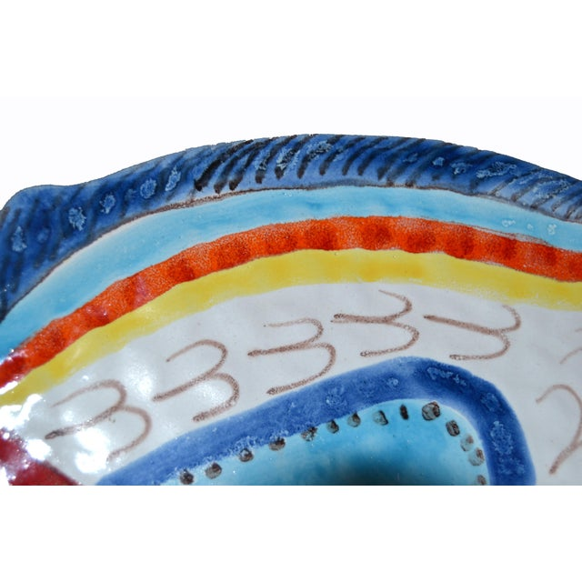 Italian Giovanni Desimone Hand Painted Pottery, Fish Platter, Serving Plate For Sale - Image 9 of 12