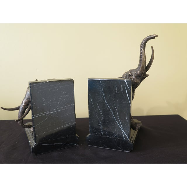 2010s Traditional Signature Statuary Bronze & Marble Elephant Bookends - a Pair For Sale - Image 5 of 6
