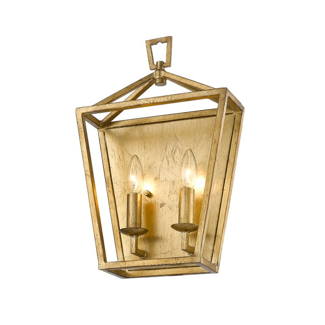 Industrial Ponce City 2 Light Sconce, Gilded Gold For Sale - Image 3 of 8