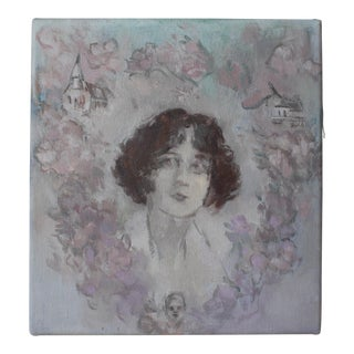 "Michelle Farro ""Cherry Blossom Wreath"" Original Painting For Sale"