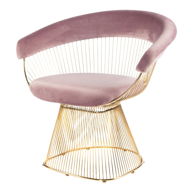 Mid-Century Modern Soleil Gold & Pink Accent Chair For Sale