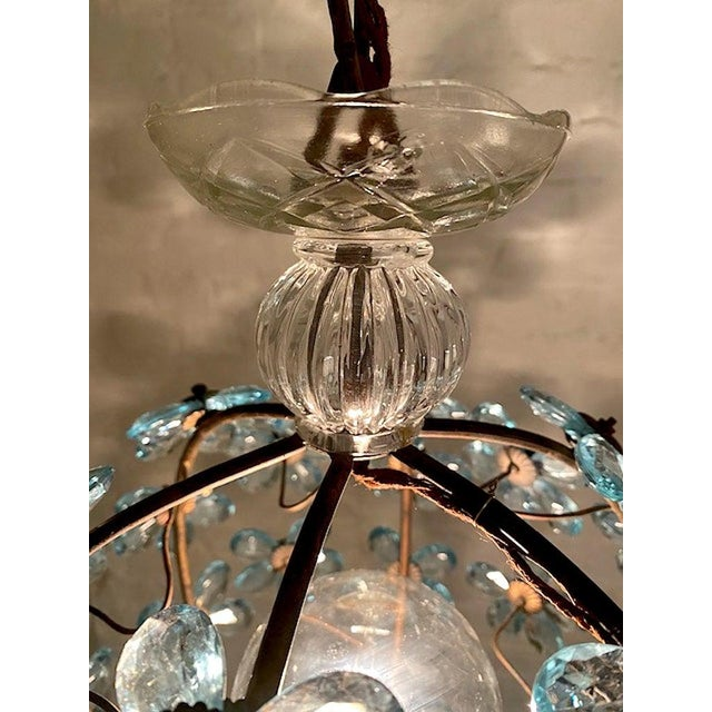 Italian Crystal Flower Pendant Light For Sale - Image 9 of 12
