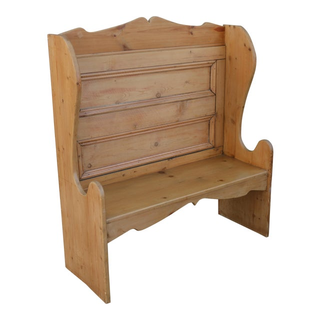 Swell 1940S Vintage Solid Pine Rustic Highback Bench Creativecarmelina Interior Chair Design Creativecarmelinacom