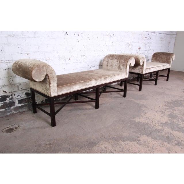 Baker Furniture Company Baker Furniture Mahogany and Velvet Window Bench For Sale - Image 4 of 12