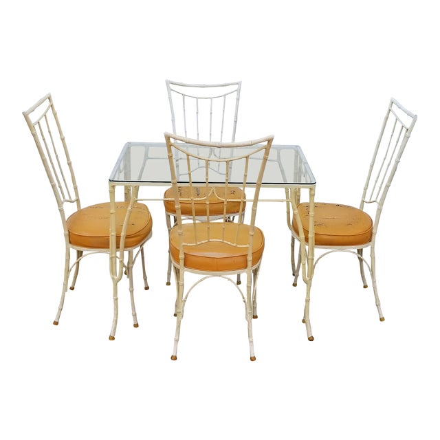 1960s Vintage Brown Jordan Calcuta Faux Bamboo Aluminum Outdoor Dining- Set of 5 For Sale