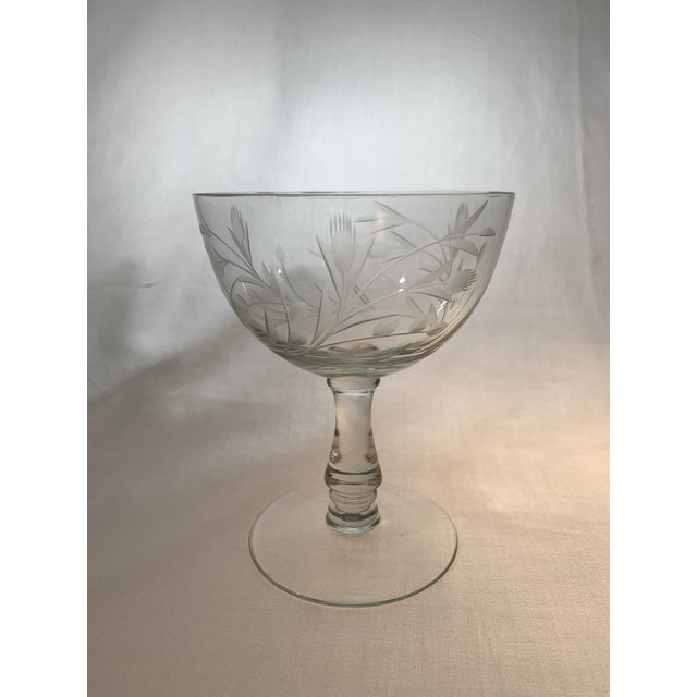 Mid-Century Modern Vintage 1960s Crystal Goblets With Etched Thistle Pattern - Set of 6 For Sale - Image 3 of 5