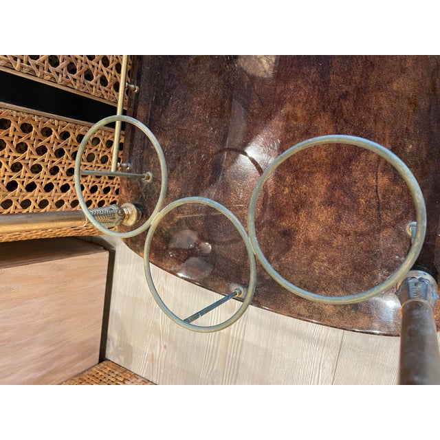 1950s Aldo Tura Goatskin and Brass Bar Cart For Sale In Los Angeles - Image 6 of 11