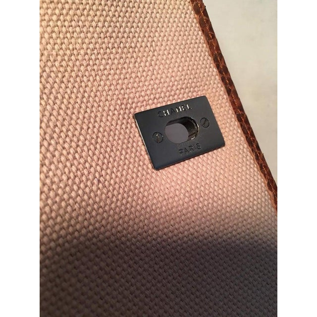 Canvas Chanel Beige Canvas and Tan Copper Snakeskin Flap Shoulder Bag For Sale - Image 7 of 8