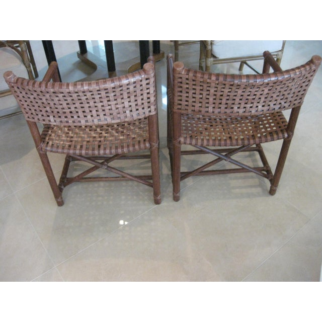 McGuire McGuire Leather Straps & Bamboo Chairs - a Pair For Sale - Image 4 of 5