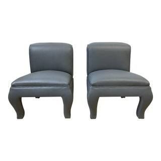 Custom Dennis Buchner Italian Leather Vanity Chairs - a Pair For Sale