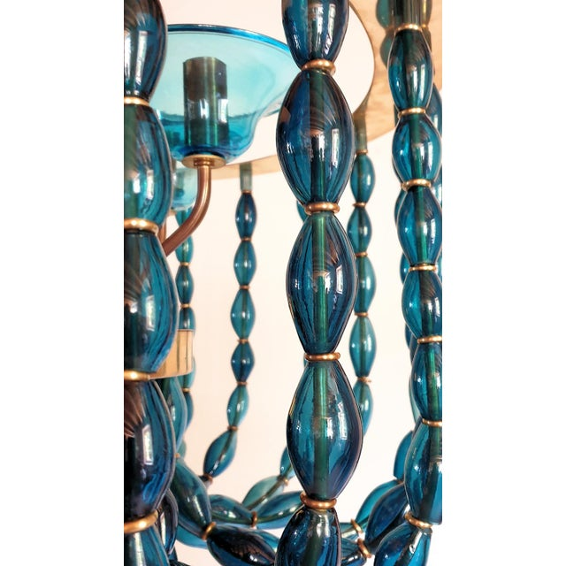 Metal 1960s Large Venini Style Blue Murano Glass Mid Century Modern Chandelier For Sale - Image 7 of 9