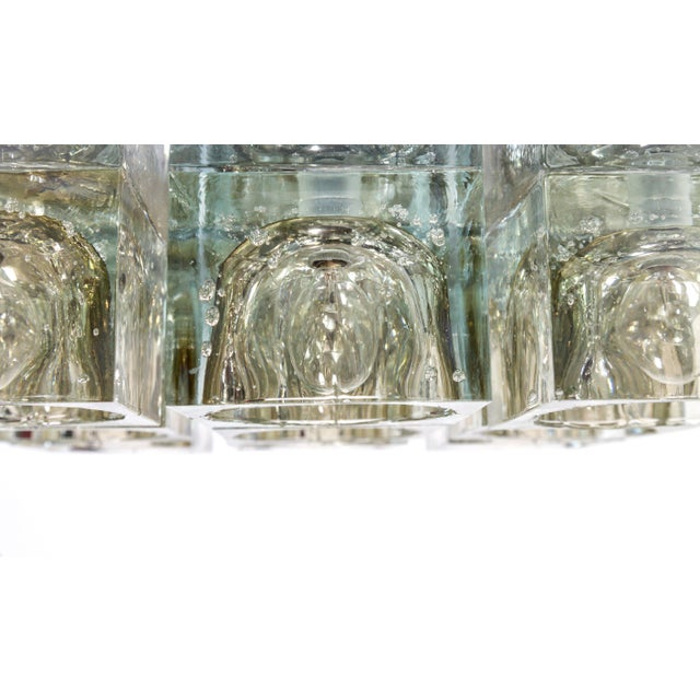 Modern Lightolier Glass Blocks 9-Light Flush Mount For Sale - Image 3 of 13