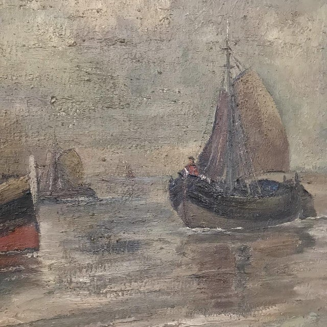 Gray Mid-Century Framed Oil Painting on Canvas by Hubert De Vries For Sale - Image 8 of 11
