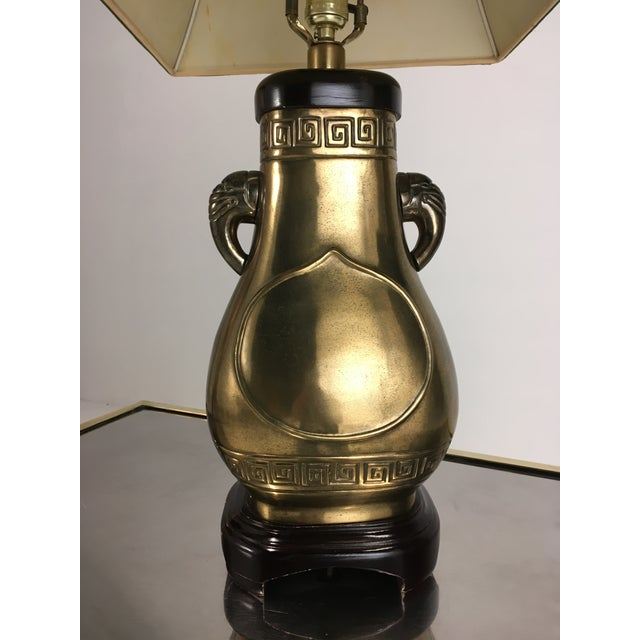 Anglo-Indian Brass Paul Hanson Elephant Lamp With Green Pagoda Style Shade For Sale - Image 3 of 9