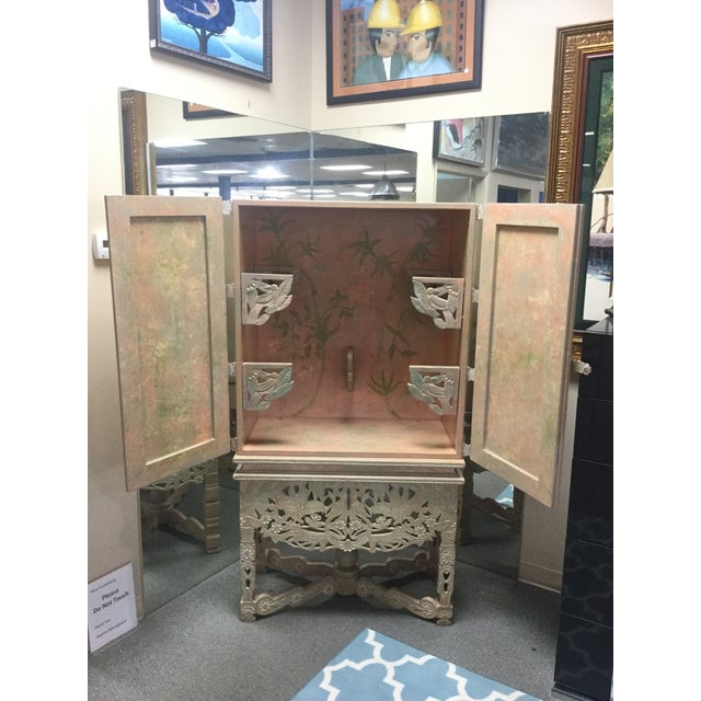 Asian Asian Style Floral Armoire For Sale - Image 3 of 8