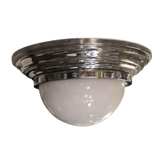 Vintage 18 In. Chrome Flush Mount Fixture With Milk Glass Dome For Sale