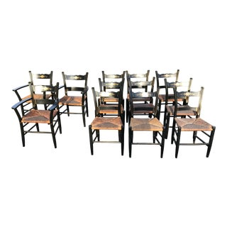 Vintage Black and Caned Hitchcock Chairs - Set of 12 For Sale