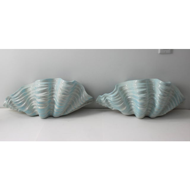 Mid-Century Modern Robins Egg Blue Wall Pockets Cachepot - a Pair For Sale - Image 13 of 13