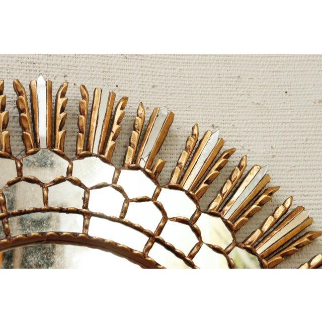 Mid-Century Modern Mid Century Gilt Sunburst Mirror For Sale - Image 3 of 6