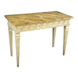 18th Century Neoclassical Faux Marble Top Console Table For Sale