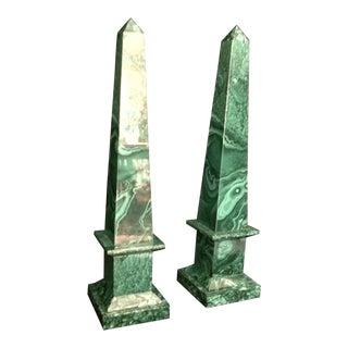 20th Century Malachite Obelisks - a Pair For Sale