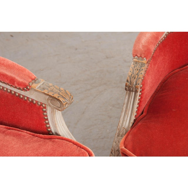 French 19th Century Louis XVI Style Bergères -A Pair For Sale - Image 11 of 12