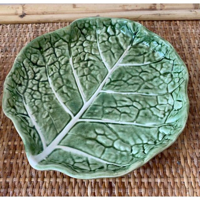 Mid 20th Century Green Cabbage Leaf Plates Portugal - Set of 6 For Sale In Miami - Image 6 of 13