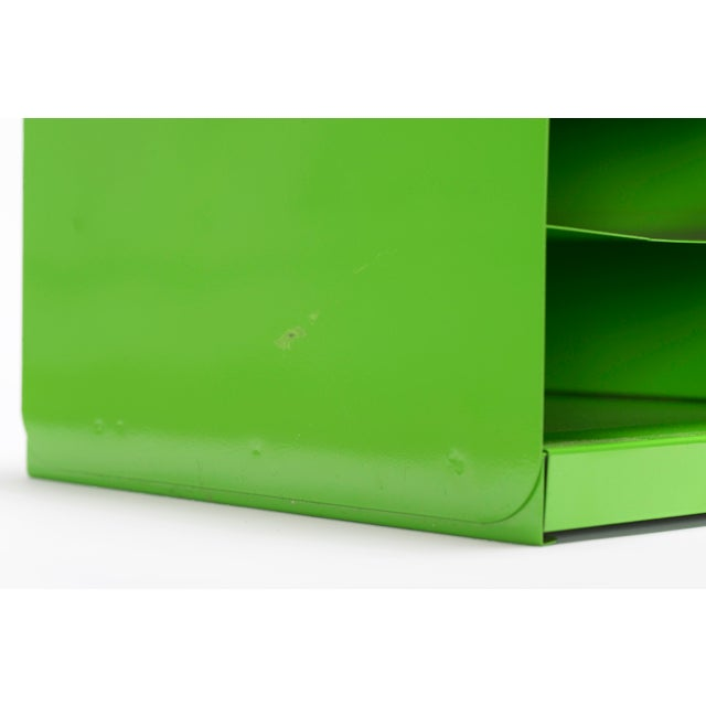 "Extra Large Mid Century Tanker Office Organizer, Refinished in Gloss ""Lime Green"" For Sale In Los Angeles - Image 6 of 7"