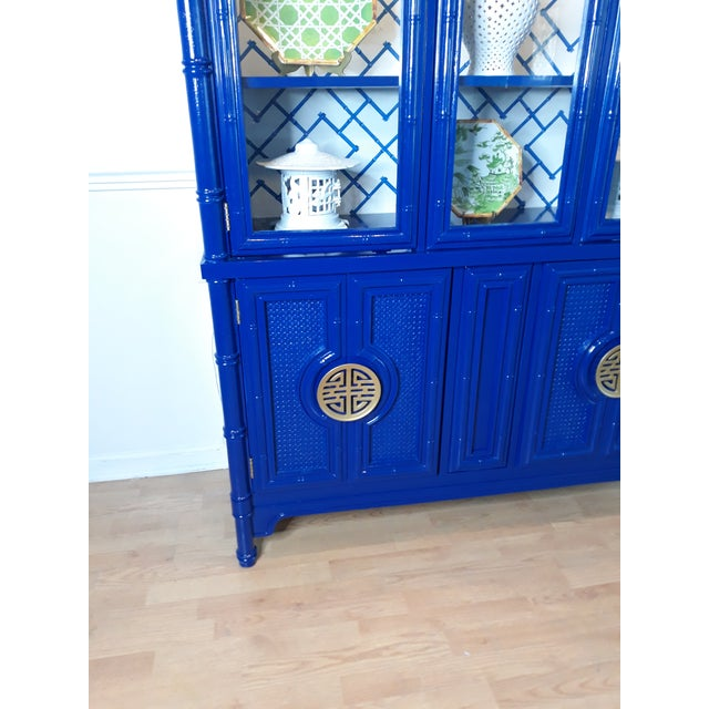Faux Bamboo Navy Blue Lacquered China Cabinet For Sale - Image 12 of 13