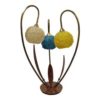 Mid-Century Danish Modern Amorphous Walnut Brass Flower Spaghetti Table Lamp