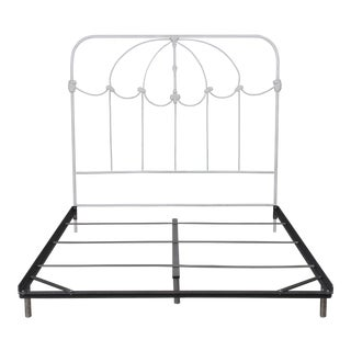 Vintage Inspired French Farmhouse Shabby Chic Iron Queen Bed For Sale
