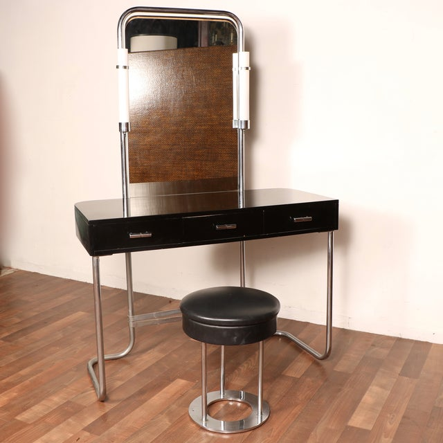 Art Deco Vanity with Stool - Image 2 of 11