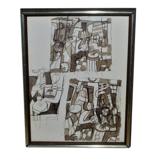 Charles Robert Searles Signed Ink Drawing, Untitled Abstract Figure For Sale