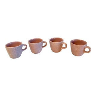 Vintage Pink and White Speckled Coffee Mugs - Set of 4 For Sale