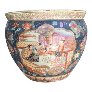 Vintage Chinoiserie Fish Bowl Planter For Sale