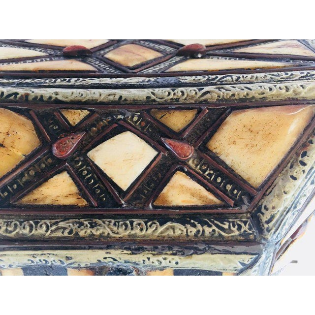 Gold Moroccan Decorative Jewelry Box Inlaid With Bone and Silvered Brass For Sale - Image 8 of 13
