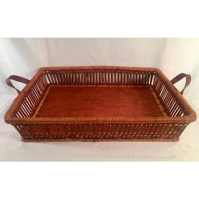 Mid-Century Rattan & Wood Leather-Handled Serving Tray For Sale - Image 13 of 13