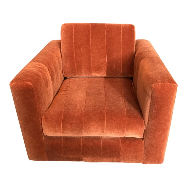 Contemporary Mohair Club Chair - Image 1 of 5