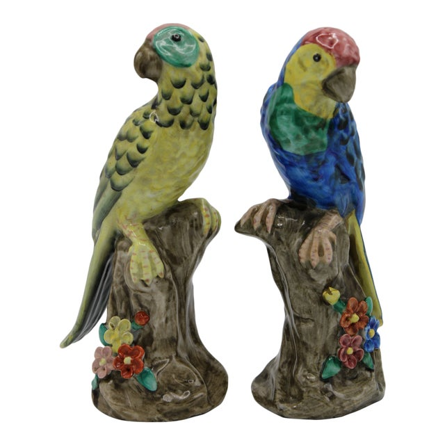 Blue and Green Ceramic Parrot Bird Figurines - a Pair For Sale