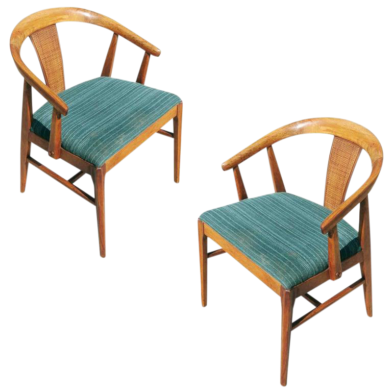 Pair Of James Mont Style Horseshoe Chair With Woven Wicker Back