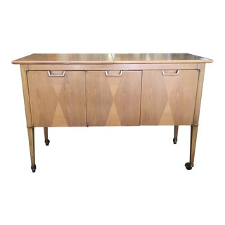 1960s Mid-Century Modern Mount Airy Furniture Co. Janus Rolling Bar Cart Buffet For Sale